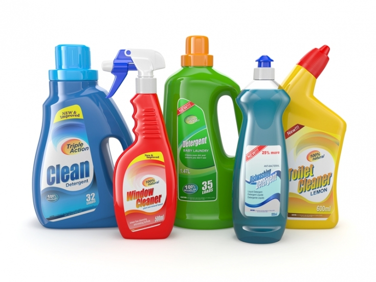Self-adhesive labels on household chemicals products